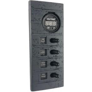 Connex Schakelpaneel 4 schakelaars en voltmeter 12V