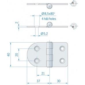 Roca vlakscharnier rond/recht RVS 67 x 40 mm 441679