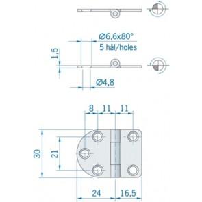 Roca vlakscharnier rond/recht RVS 405 x 30 mm 440060