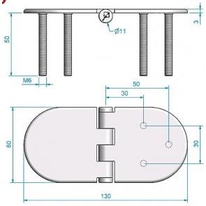Roca vlakscharnier rond verdekt RVS 130 x 60 mm verdekt 449029