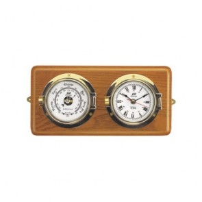 Plastimo klok en barometer 3 inch op houten basis