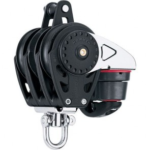 Harken 57mm carbo driedubbel Ratchamatic blok + swivel + klem + hondsvot 2630