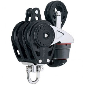 Harken 75mm carbo driedubbel Ratchamatic blok + swivel + klem + hondsvot + 57mm blok 2687
