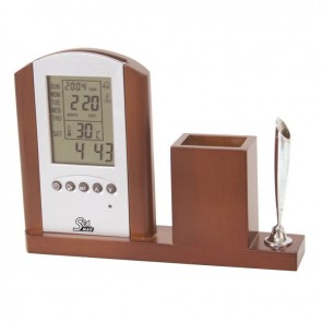 Lalizas wooden holder for pen, with digital clock