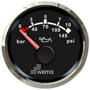Wema Silver serie oliedruk 10 bar meter NMEA2000 zwart