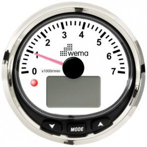 Wema Silver serie toerenteller 7000 rpm NMEA2000 zwart