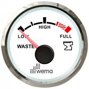 Wema Silver serie vuilwater tankmeter NMEA2000 wit