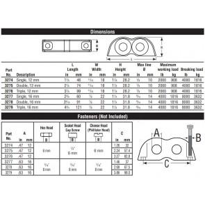 Harken Bolt down fairlead - 12mm double 3275