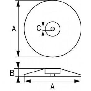 Roer/Zwaard/Trimtab anode zink 70mm